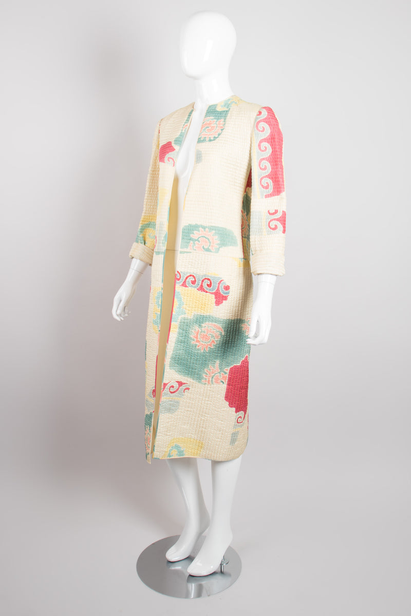Mary McFadden Quilted Southwestern Folk Art Open Coat Duster