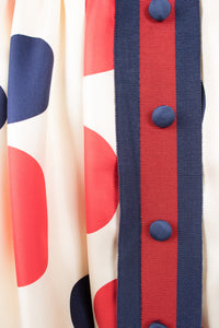 Mollie Parnis Red White Blue Independence Ribbon Dot Dress