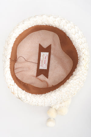 Recess Los Angeles Designer Consignment Vintage Mabelle Parks Millinery Woven Raffia Net Pom Pom Hat