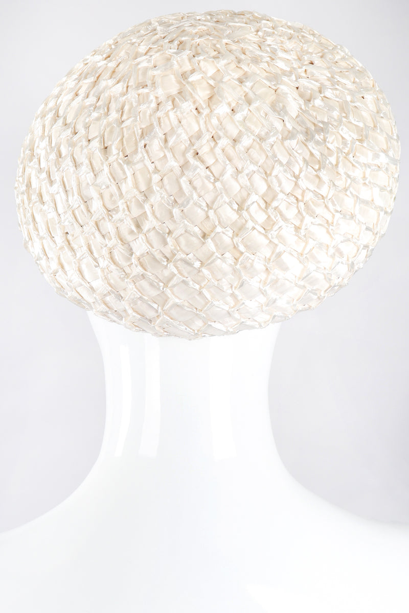 Recess Los Angeles Designer Consignment Vintage Mabelle Parks Millinery Woven Raffia Net Pom Pom Wedding Bridal Hat