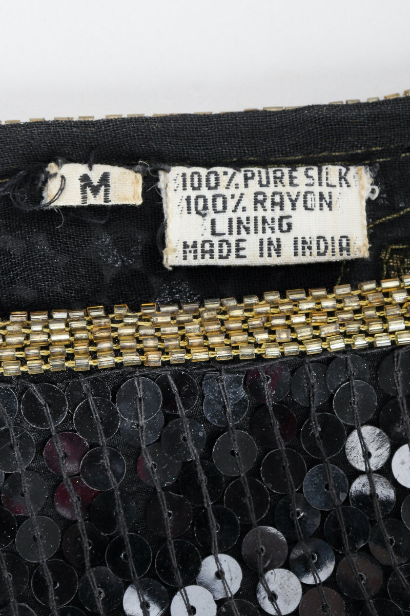 Recess Vintage Made In India Label on Black fabric with beading