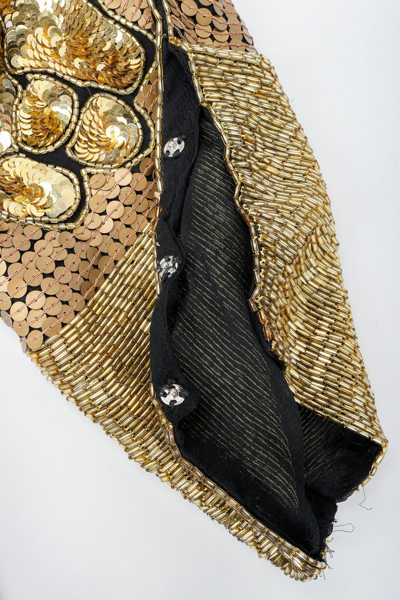 Recess Vintage Black Gold Asymmetrical Sequin Batwing Dress Sleeve Snap Detail