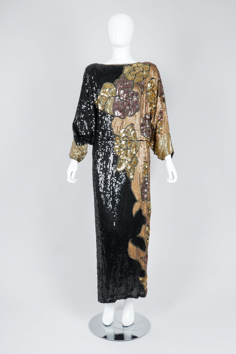 Recess Vintage Black Gold Asymmetrical Sequin Batwing Dress on Mannequin, front