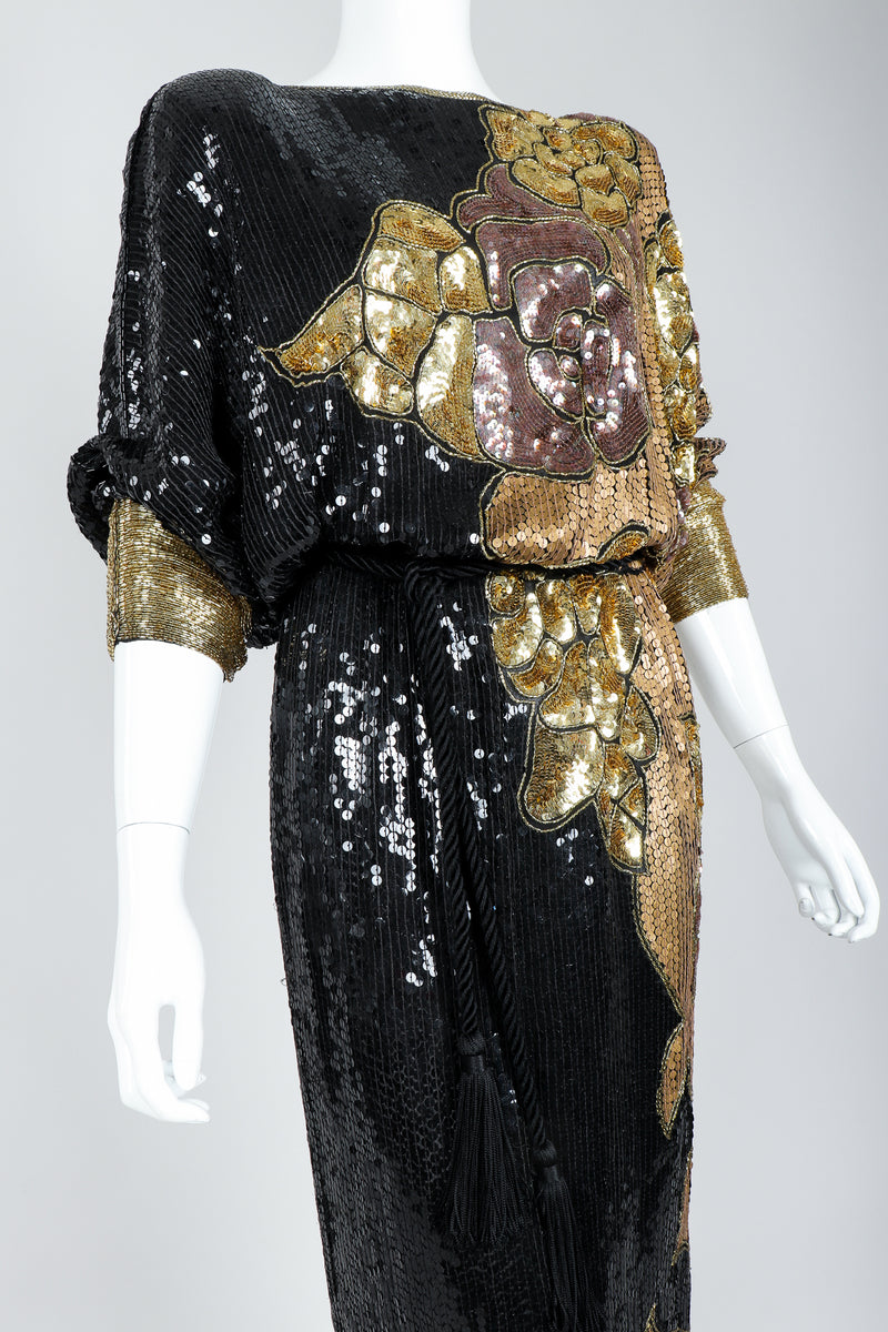 Recess Vintage Black Gold Asymmetrical Sequin Batwing Dress on Mannequin, close up