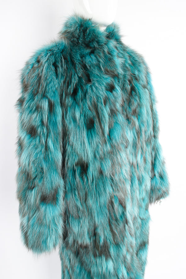 Vintage Made In Greece Teal Long Fox Fur Coat on Mannequin crop at Recess Los Angeles