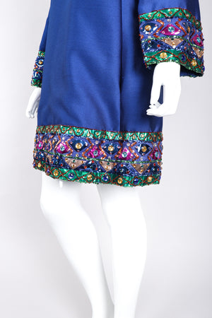 Recess Los Angeles Vintage Malcolm Starr Jewel Trimmed Silk Shift Tunic Dress