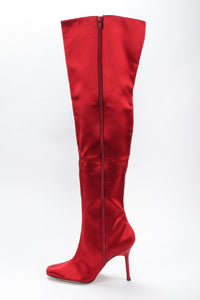 Recess Los Angeles Vintage Manolo Blahnik Lipstick Satin Stiletto Over The Knee Boots