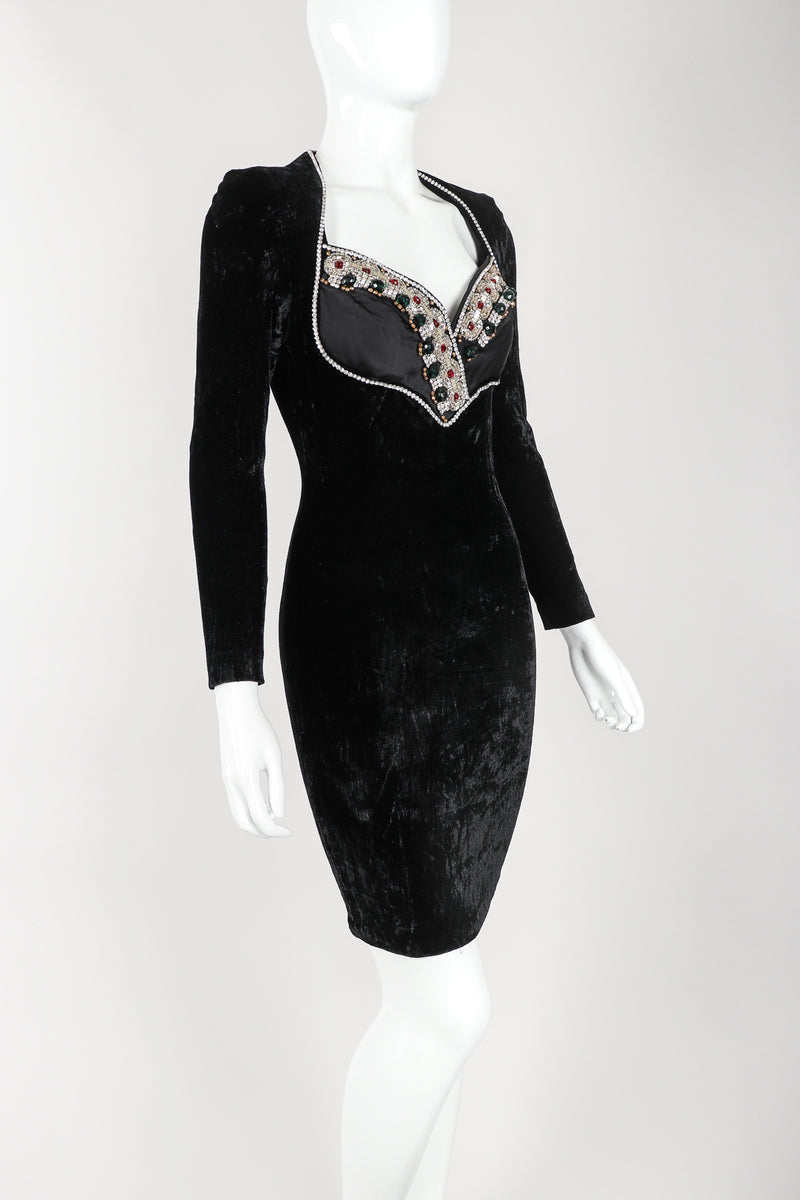 Recess Designer Consignment Vintage Maria Michele Velvet Jeweled Bust Cocktail Dress Los Angeles Resale