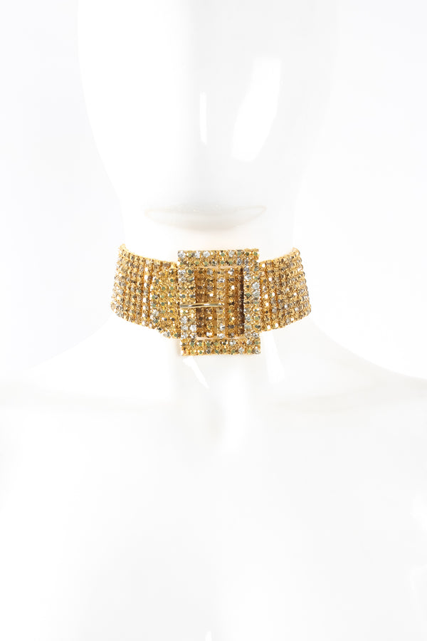 Vintage Marie Ferra Gold Rhinestone Buckle Choker Necklace on mannequin at Recess Los Angeles