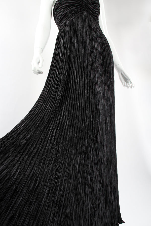Vintage Mary McFadden Pleated Strapless Sweetheart Gown on mannequin skirt at Recess Los Angeles