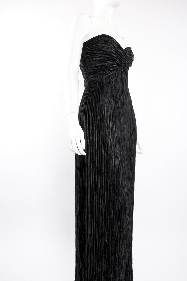 Vintage Mary McFadden Pleated Strapless Sweetheart Gown o Mannequin angle at Recess Los Angeles