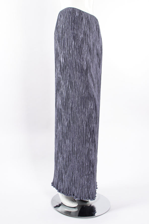 Vintage Mary McFadden Periwinkle Pleated Column Skirt on Mannequin angle at Recess Los Angeles