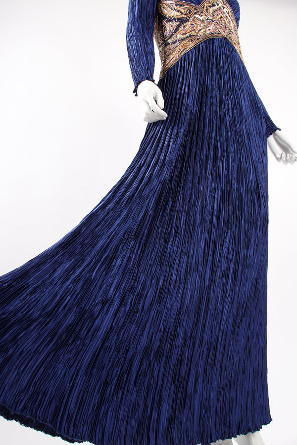 Vintage Mary McFadden Embellished Waist Pleated Gown on Mannequin skirt at Recess Los Angeles