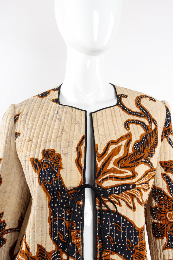 Vintage Mary McFadden Products Quilted Pheasant Jacket on Mannequin neckline at Recess LA