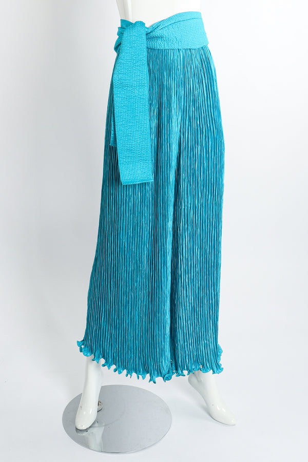 Vintage Mary McFadden Pleated Palazzo Pant & Sash on Mannequin Tied at Recess Los Angeles