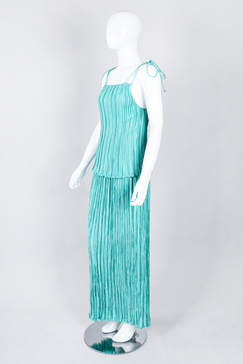 Recess Los Angeles Vintage Mary McFadden Teal Pleated Tank Skirt Set
