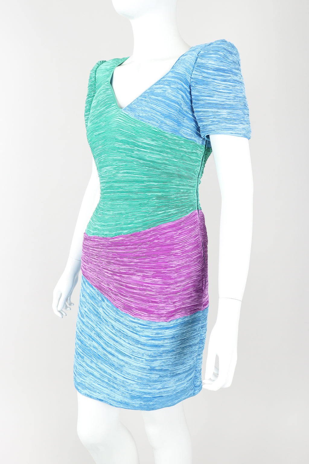 Recess Designer Consignment Vintage Mary McFadden Pleated Colorblock Cocktail Dress Los Angeles Resale Mariano Fortuny