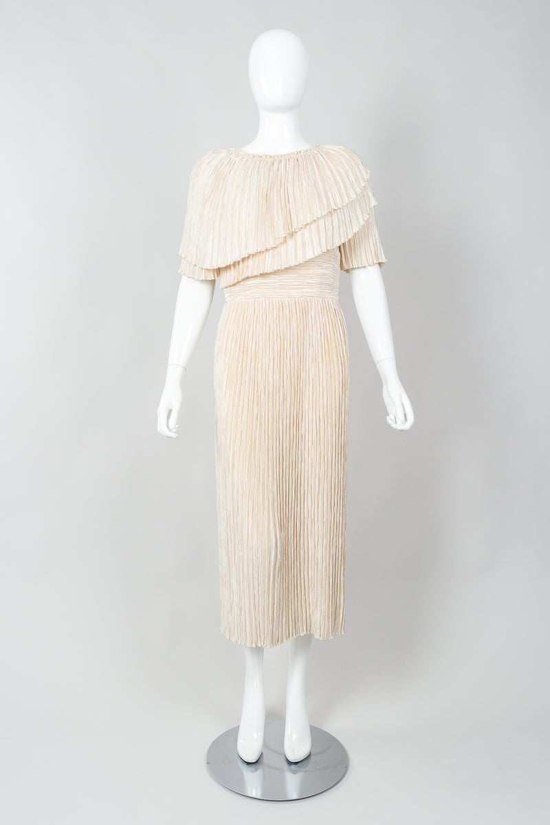 Vintage Mary McFadden Cream Pleated Asymmetrical Draped Collar Dress on Mannequin Front at Recess