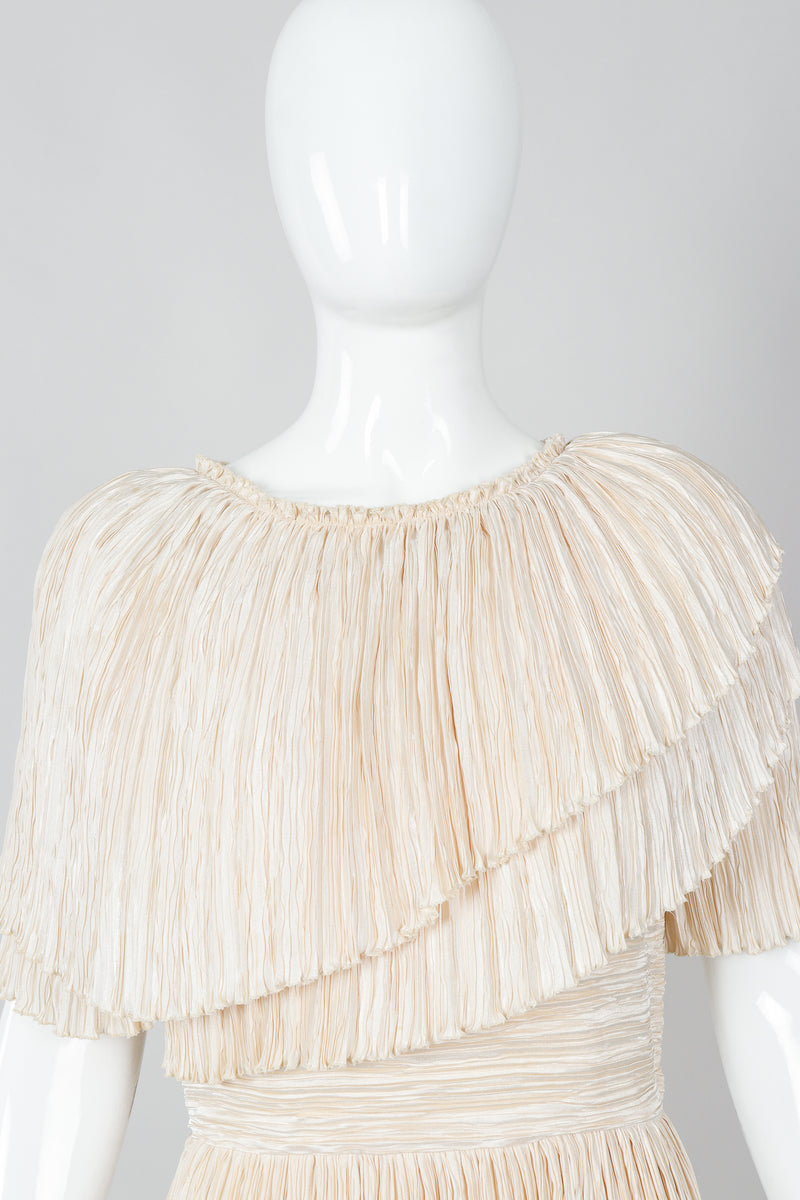 Vintage Mary McFadden Cream Pleated Asymmetrical Draped Collar Dress on Mannequin Neck at Recess