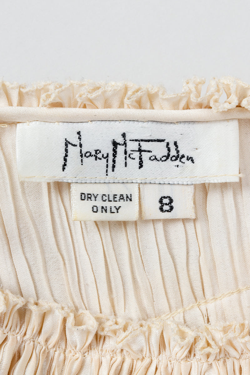 Vintage Mary McFadden Label on Cream fabric