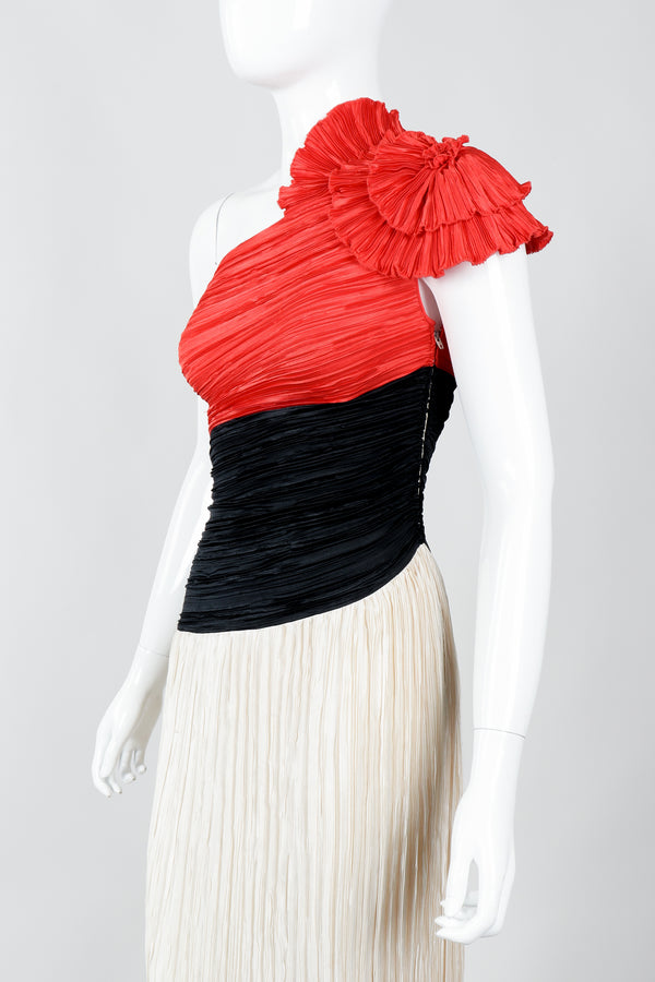 Vintage Mary McFaddden Asymmetrical Ruffle Shoulder Gown on Mannequin Cropped at Recess