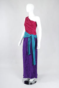 Recess Los Angeles Vintage Mary McFadden One-Shoulder Colorblock Gown