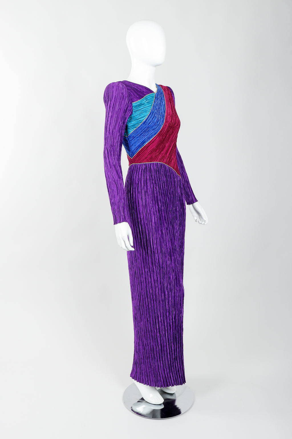 Vintage Mary McFadden Pleated Colorblock Bias Bodice Dress on Mannequin angled, at Recess
