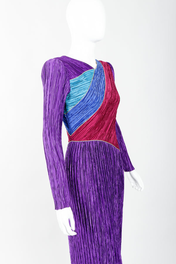 Vintage Mary McFadden Pleated Colorblock Bias Bodice Dress on Mannequin angled close up, at Recess