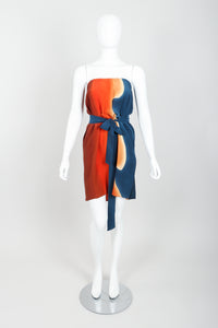 Vintage McKane Sunset Silk Kimono Set Dress Skirt on mannequin front at Recess Los Angeles