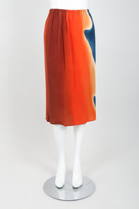 Vintage McKane Sunset Silk Kimono Skirt Set on mannequin front at Recess Los Angeles