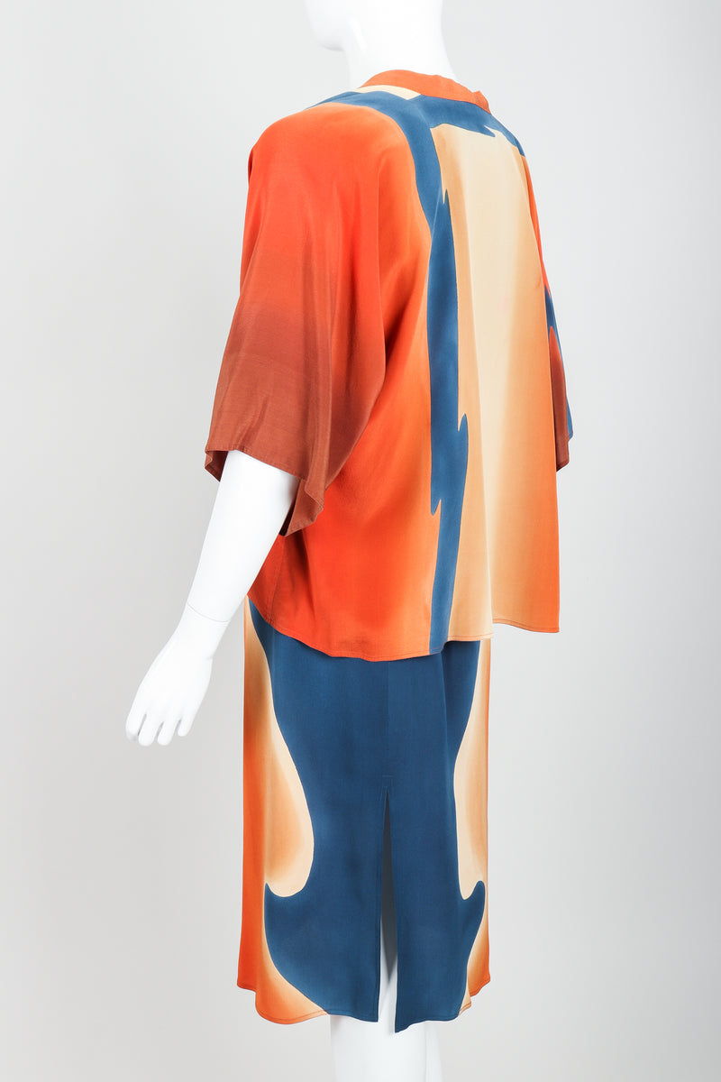 Vintage McKane Sunset Silk Kimono Set on mannequin back angle at Recess Los Angeles
