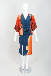 Vintage McKane Sunset Silk Kimono Set on mannequin front at Recess Los Angeles