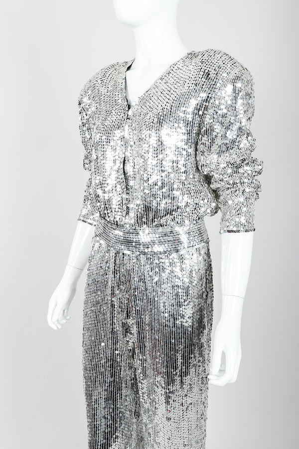Vintage Metamorphosis Mirror Sequined Jumpsuit on Mannequin Angle Crop at Recess Los Angeles