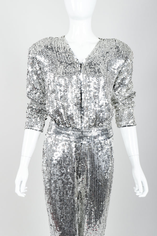 Vintage Metamorphosis Mirror Sequined Jumpsuit on Mannequin Front Crop at Recess Los Angeles
