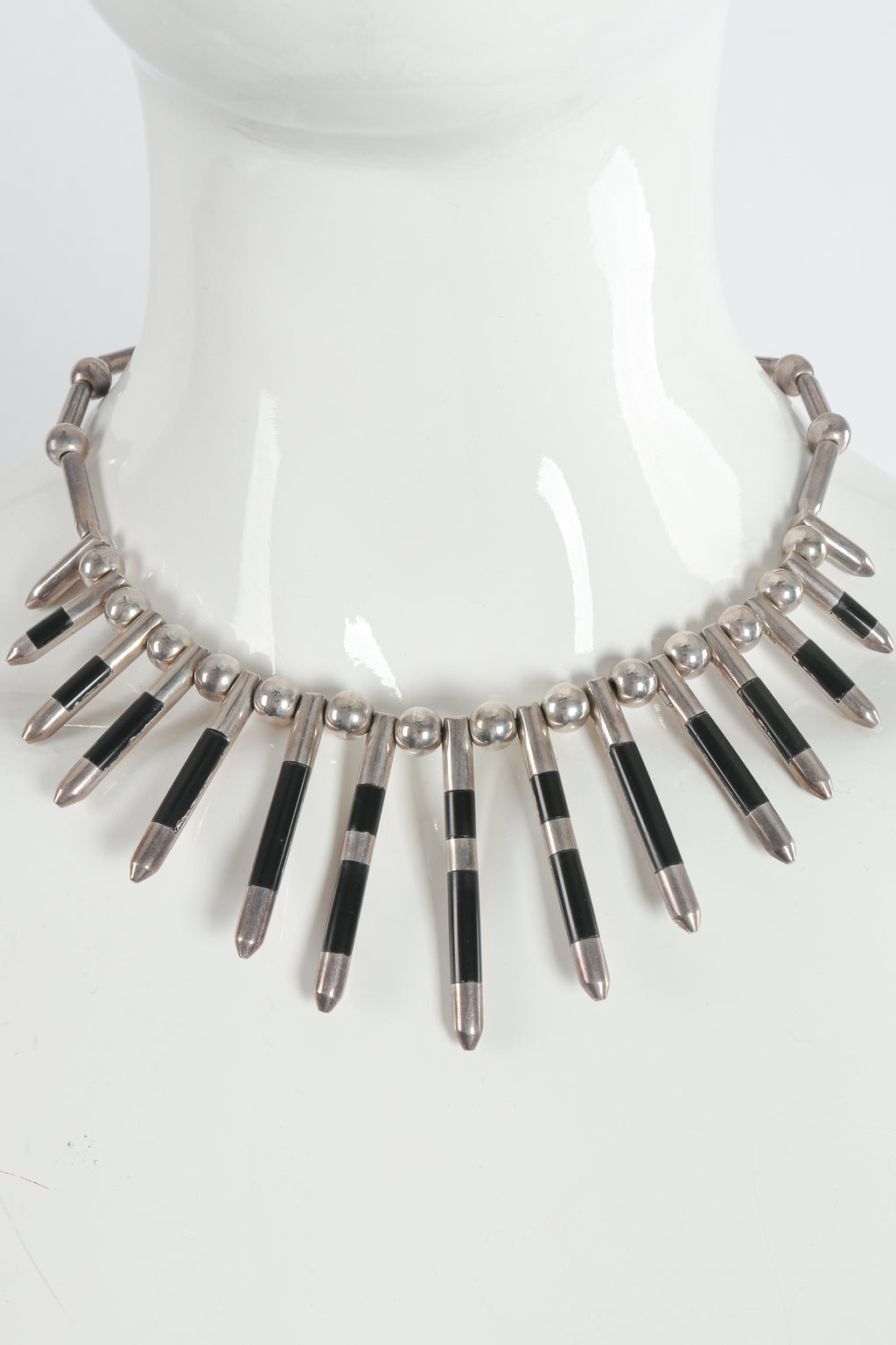 Vintage 925 Mexico Sterling Silver Spike Necklace on Mannequin at Recess Los Angeles