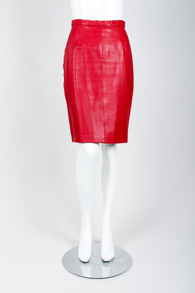 Vintage North Beach Leather by Michael Hoban Leather Skirt on Mannequin Front at Recess