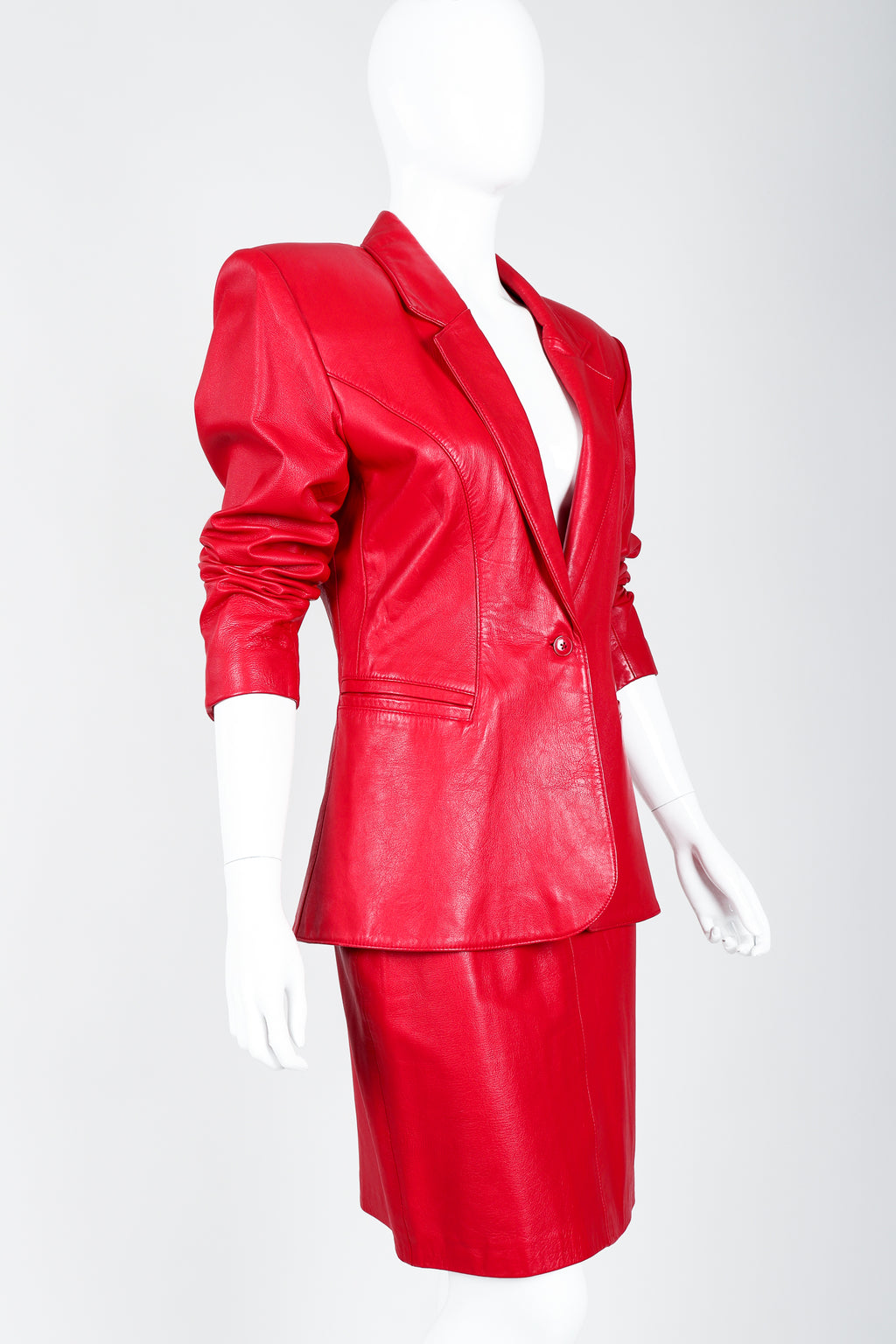 Vintage North Beach Leather by Michael Hoban Red Leather Jacket & Skirt Suit on Mannequin cropped