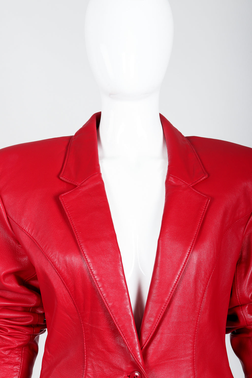 Vintage North Beach Leather by Michael Hoban Sharp Red Leather Jacket on Mannequin at Recess