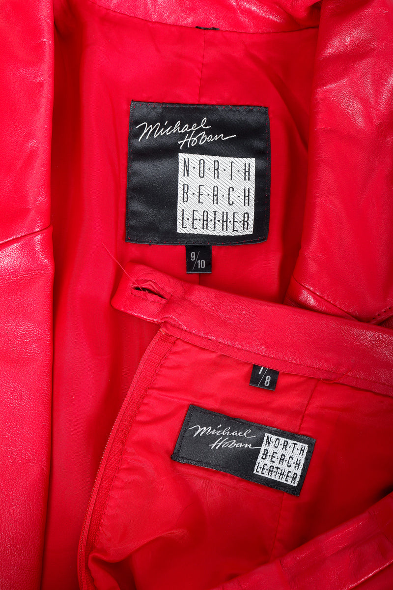Vintage North Beach Leather by Michael Hoban Labels on red leather