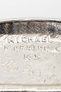 Vintage Michael Morrison MX Wide Silver Crystal Rhinestone Studded Belt signature stamp