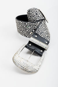 Vintage Michael Morrison MX Wide Silver Crystal Rhinestone Studded Belt at Recess Los Angeles