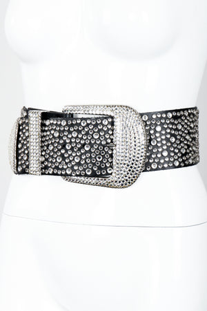 Vintage Michael Morrison MX Wide Silver Crystal Rhinestone Studded Belt on mannequin at Recess