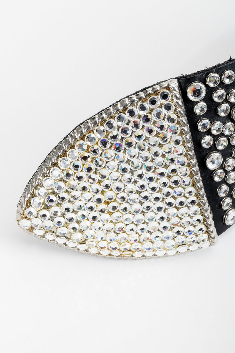 Vintage Michael Morrison MX Wide Silver Crystal Rhinestone Studded Belt tail detail