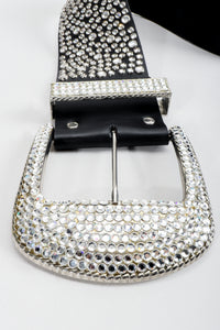 Vintage Michael Morrison MX Wide Silver Crystal Rhinestone Studded Belt buckle detail