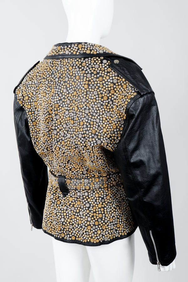 Vintage Michael Morrison Studded Back Belted Leather Moto Jacket on Mannequin Back Angled