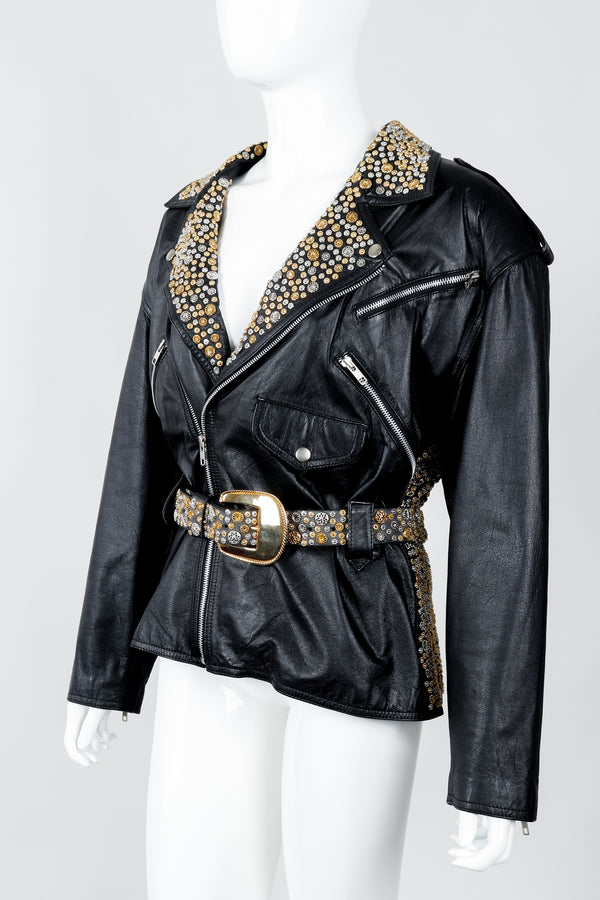 Vintage Michael Morrison Studded Back Belted Leather Moto Jacket on Mannequin Angled