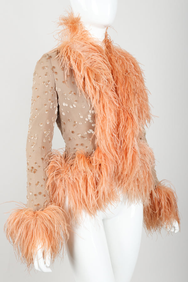 Vintage Lillie Rubin Lioness Burnout FeatherJacket on mannequin angled at Recess Los Angeles