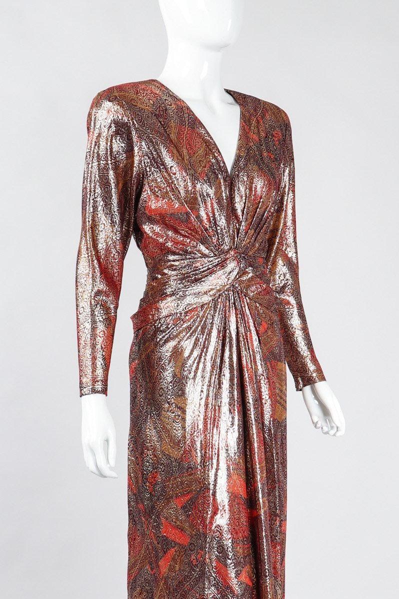 Recess Los Angeles Vintage Mignon Brocade Lamé Waist Wrap Dress