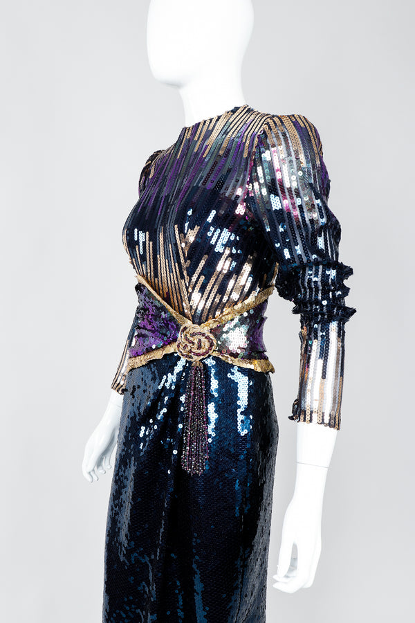 Vintage Mignon Midnight Sequined Column Gown on Mannequin cropped at Recess Los Angeles
