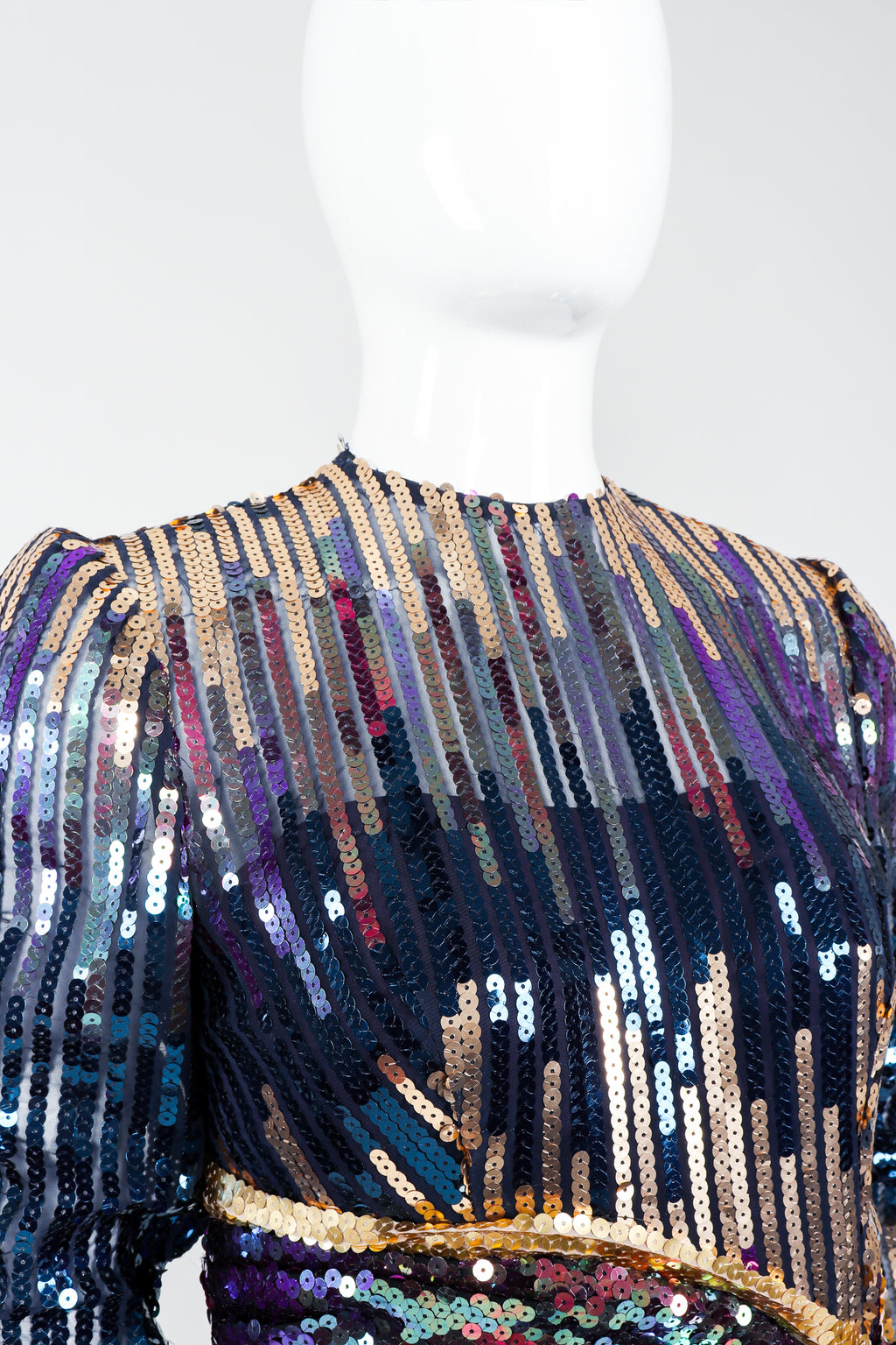 Vintage Mignon Midnight Sequined Column Gown on Mannequin neckline  at Recess Los Angeles